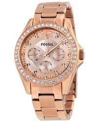Fossil Riley Multi-function Rose Gold-plated Ladies Watch - Multicolour