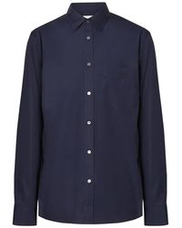 Burberry Monogram Motif Stretch Cotton Poplin Shirt, Brand - Blue