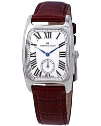 Hamilton - Boulton Silver Dial Red Leather Ladies Watch - Lyst