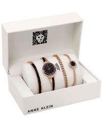 Anne Klein Crystal Black Dial Ladies Watch Set - Multicolor