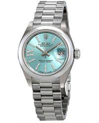 Rolex Lady-datejust Ice Blue Diamond Dial Platinum President Watch - Metallic