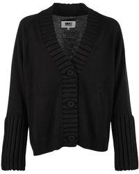 MM6 by Maison Martin Margiela Ladies Black Ribbed Sleeve Cardigan