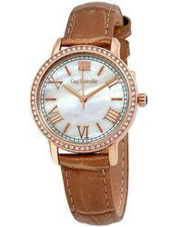 Guy Laroche Far East White Mother Of Pearl Dial Ladies Watch -02 - Brown