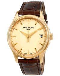 Patek Philippe Calatrava Ivory Dial 18kt Yellow Gold Brown Leather Mens Watch -001 - Metallic