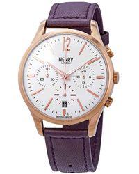 Henry London Hampstead Chronograph White Dial Unisex Watch -cs-0090 - Metallic