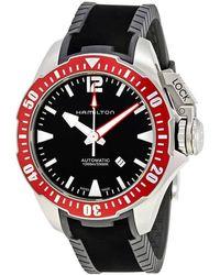 Hamilton Khaki Navy Frogman Automatic Black Dial Mens Watch - Red