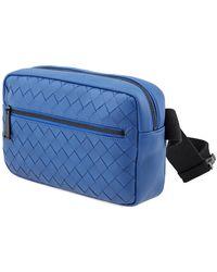 Bottega Veneta Intrecciato Weave Belt Bag In Blue