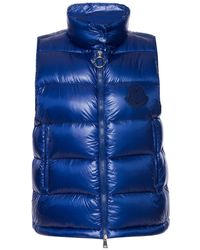 Moncler Ladies Blue Helsinki Quilted Down Vest With Logo