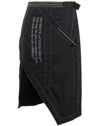 Off-White c/o Virgil Abloh Side-vent Asymmetric Skirt In Black White, Brand