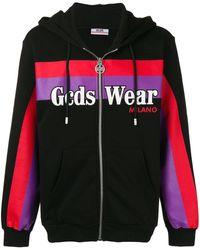 Gcds Logo-print Color-block Hoodie In Black