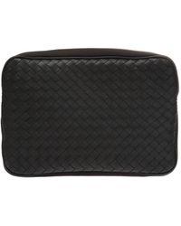 Bottega Veneta Mens Travel Organizer Wallet Pouchette Black Bv Trav Os Pouch Canvsltr