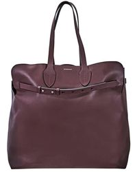 Burberry Large Soft Leather Belt Bag- Deep Claret - Purple