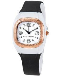 Marc Jacobs Quartz White Dial Black Silicone Ladies Watch - Multicolour