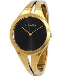 Calvin Klein Addict Black Dial Gold-tone Medium Bangle Ladies Watch - Metallic