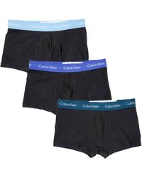 Calvin Klein Mens Black Men Cotton Stretch 3pk Trunks