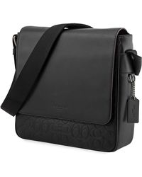 COACH Metropolitan Map Bag In Signature Leather - Black