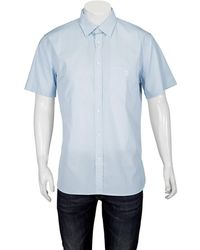 Burberry Short-sleeve Monogram Motif Stretch Cotton Shirt - Blue