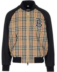 Burberry Mens Monogram Motif Vintage Check Nylon Bomber Jacket, Brand - Natural