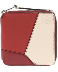Loewe Ladies Red Puzzle Wallets