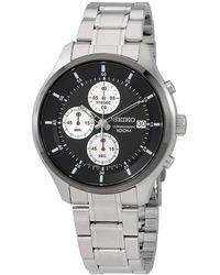 Seiko Neo Sports Black Dial Chronograph Mens Watch - Metallic