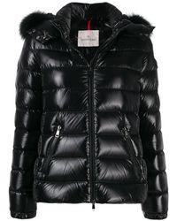 Moncler Ladies Black Fur Trimmed Bady Puffer Jacket