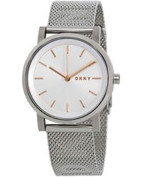 DKNY Soho Silver Dial Steel Mesh Ladies Watch - Metallic