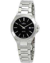 Edox Delfin Quartz Black Dial Watch  3m Nin - Metallic