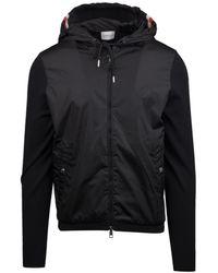 Moncler Hooded Knit Jacket In Black