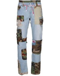 Gcds Mens Multicolour Cargo Recycle Straight Leg Jeans - Blue