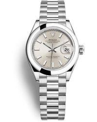 Rolex Lady-datejust Silver Dial Automatic Platinum President Watch - Metallic