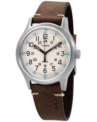 Timex Mk1 Quartz Beige Dial Brown Leather Mens Watch - Metallic