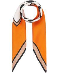 Burberry Logo Print Silk Square Scarf - Orange