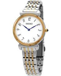 Seiko Quartz White Dial Watch - Metallic