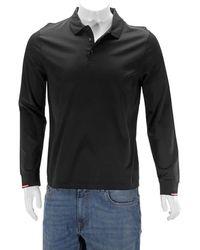 Moncler Long-sleeve Polo Shirt In Black