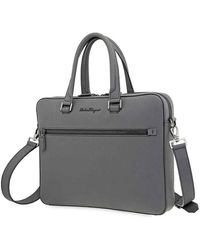 Ferragamo Revival 3.0 Coated Leather Slim Briefcase - Gray