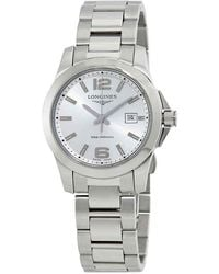 Longines Conquest Silver Dial Ladies 29.50 Mm Watch - Metallic