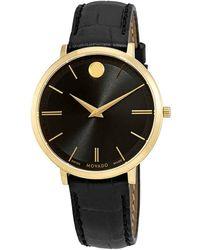 Movado - Ultra Slim Black Dial Ladies Watch - Lyst