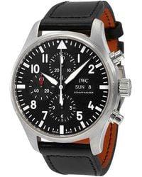 Iwc Pilot Black Automatic Chronograph Mens Watch