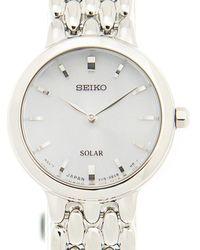 Seiko Solar Silver Dial Stainless Steel Ladies Watch - Metallic
