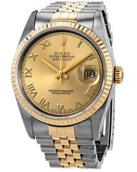 Rolex Pre-owned Datejust Champagne Dial 18k Gold/steel Mens Watch - Metallic