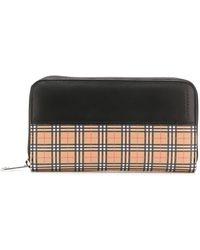 Burberry Mini Vintage Canvas Check & Leather Zip Around Wallet - - Black