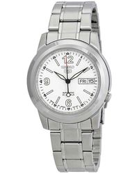 Seiko - 5 Automatic White Dial Stainless Steel Mens Watch - Lyst