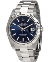 Rolex Pre-owned Oyster Perpetual Datejust 41 Blue Dial Automatic Mens Watch - Metallic