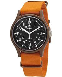 Timex Mk1 Quartz Black Dial Orange Fabric Mens Watch