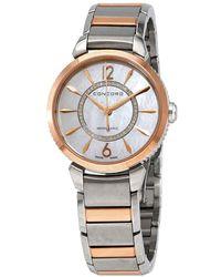 Concord Impresario Diamond Quartz White Mother Of Pearl Dial Ladies Watch - Metallic