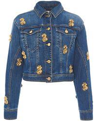 Moschino Ladies Dollar Sign Denim Jacket In Blue