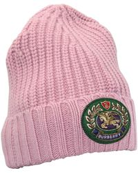 Burberry Embroidered Crest Rib Knit Wool Cashmere Beanie - Pink