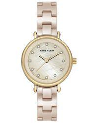 Anne Klein Beige Mother Of Pearl Dial Ladies Watch - Metallic