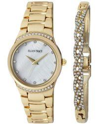 Ellen Tracy Mother Of Pearl Dial Ladies Watch & Jewellery Set - Metallic