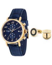 Thomas Earnshaw Grand Legacy Chronograph Blue Dial Watch And Cuff Link Set -04